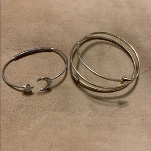 Two cool gold color bracelets. Fun and classy.